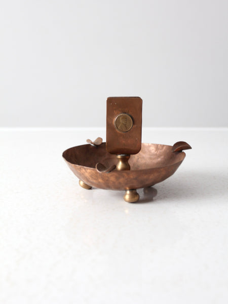 antique copper match holder ashtray