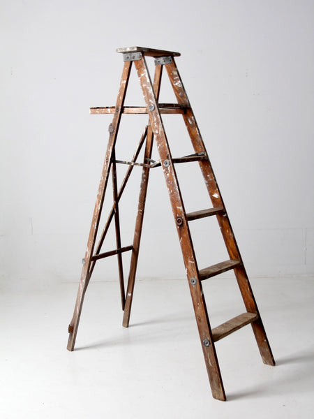vintage wooden painter's ladder
