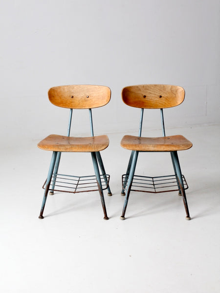 vintage black spindle back chairs - pair