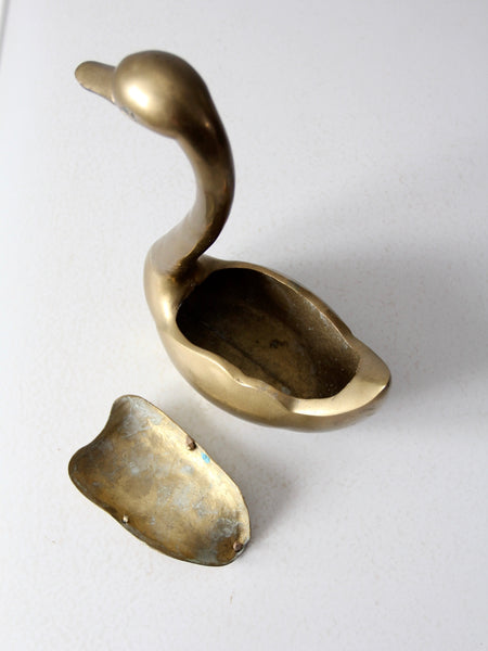 mid-century brass swan figure box
