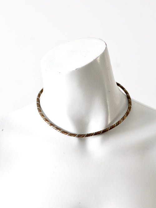 vintage mixed metal choker necklace