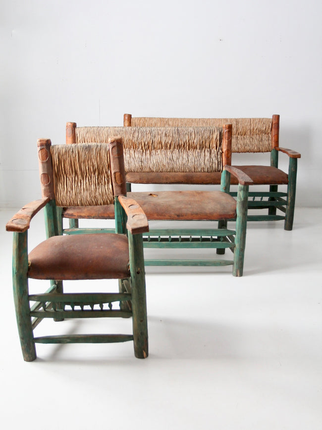 vintage hacienda chair and sofa set