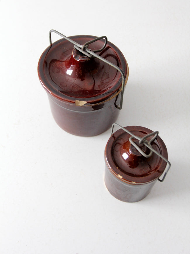 vintage stoneware kitchen jars with bail lock lids