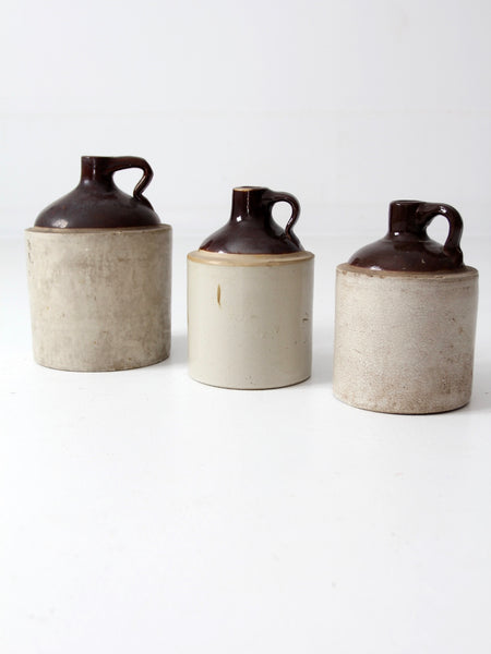 antique stoneware crock jug collection - set/3
