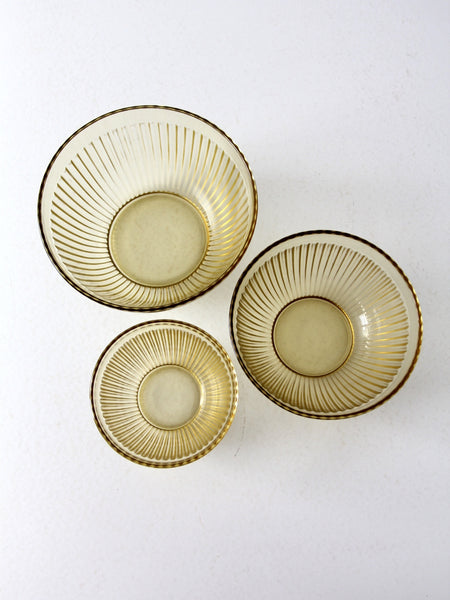 vintage ribbed Depression glass bowls set/3
