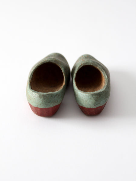 antique wood clog shoes