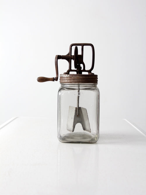 antique glass butter churn