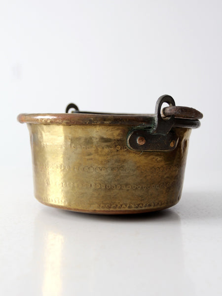 antique copper pot with brass plating