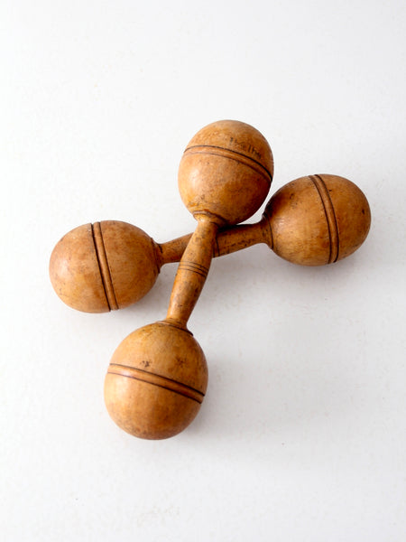 antique wooden dumbbells