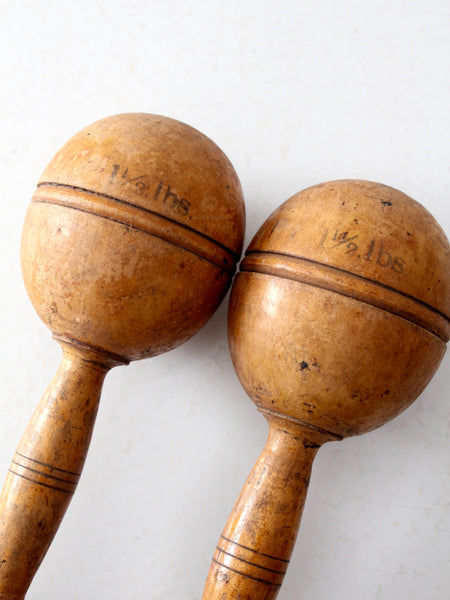antique wooden hand weights