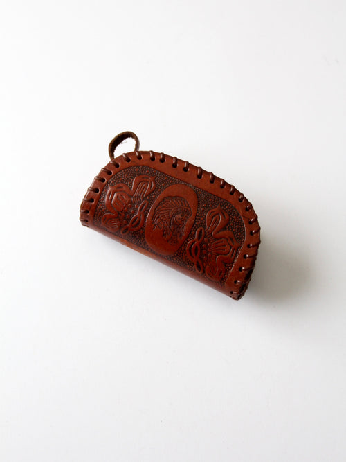 vintage tooled leather coin purse