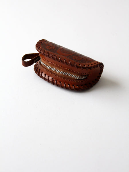 vintage tooled leather pouch