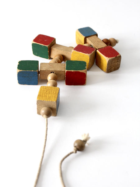 vintage wooden block pull toy