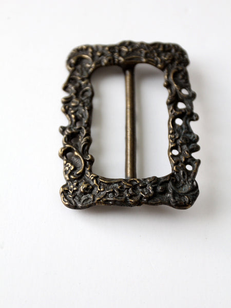 vintage brass floral slide buckle