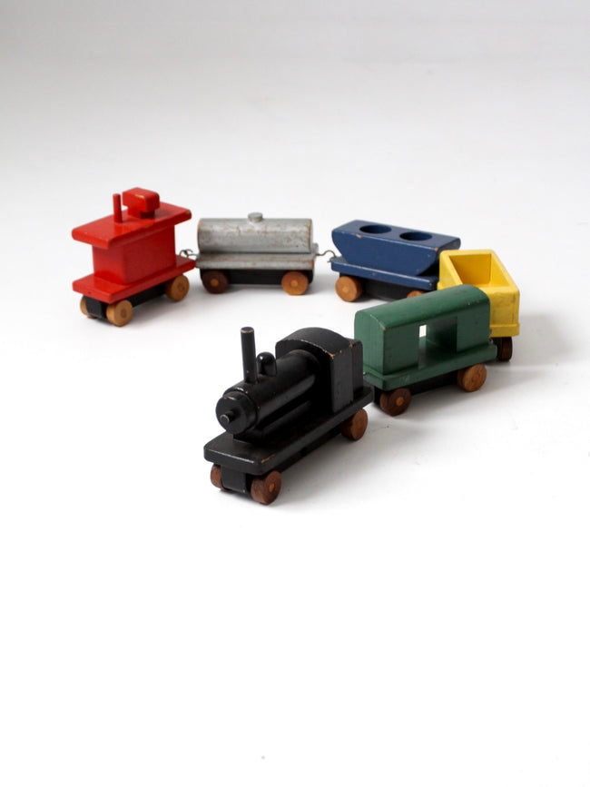 vintage wooden block toy train pull set