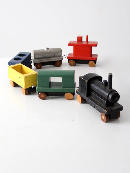 vintage toy train wooden blocks