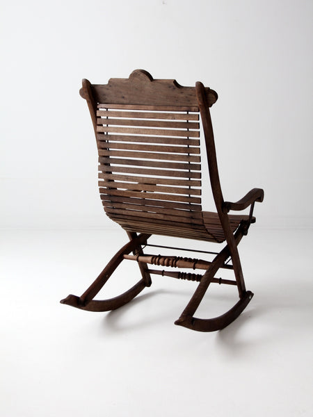 antique slat wood rocking chair