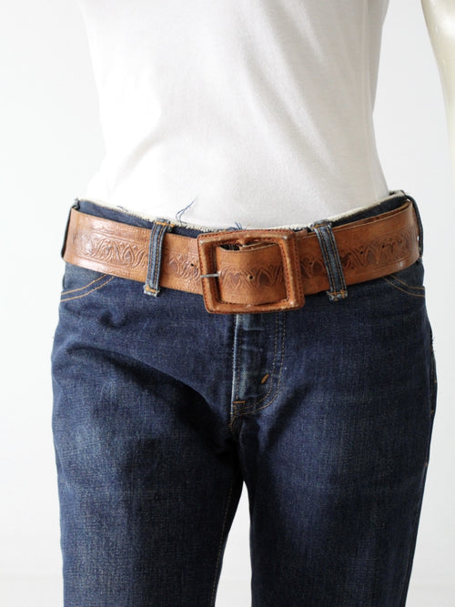 vintage tooled leather belt with leather covered buckle