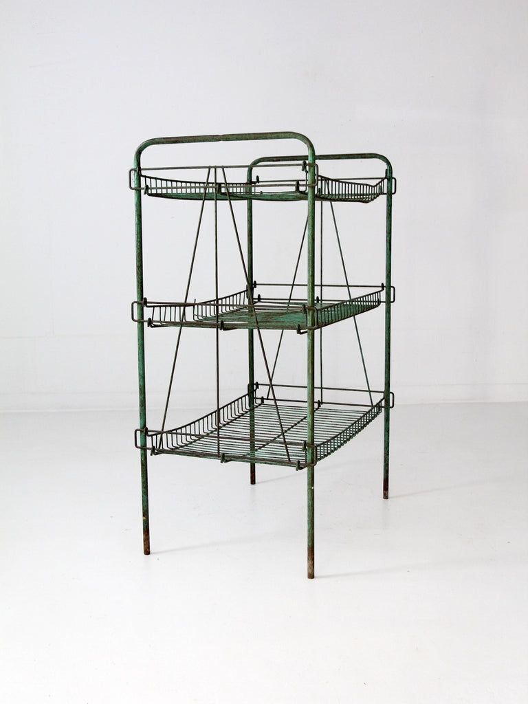 vintage industrial metal wire shelf