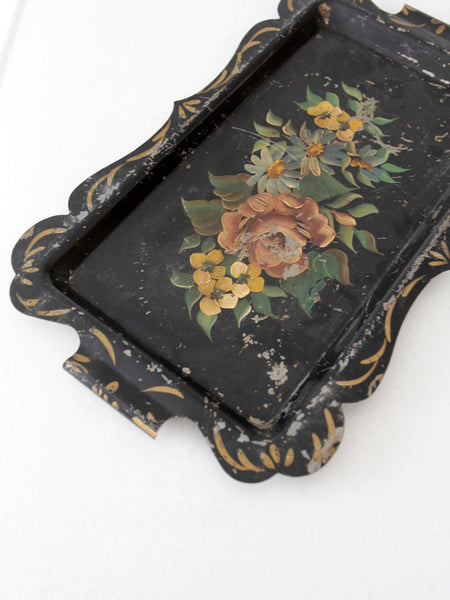 antique tole tray black metal hand painted server