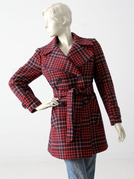 vintage plaid wool pea coat
