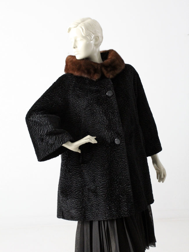 vintage 60s faux fur swing coat with mink collar