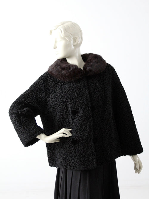 vintage 50s faux Persian lamb coat with fur trim