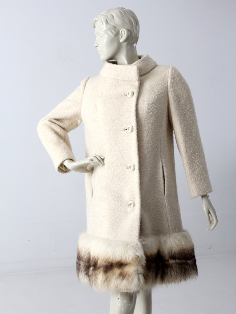 1960s wool coat with fur trim