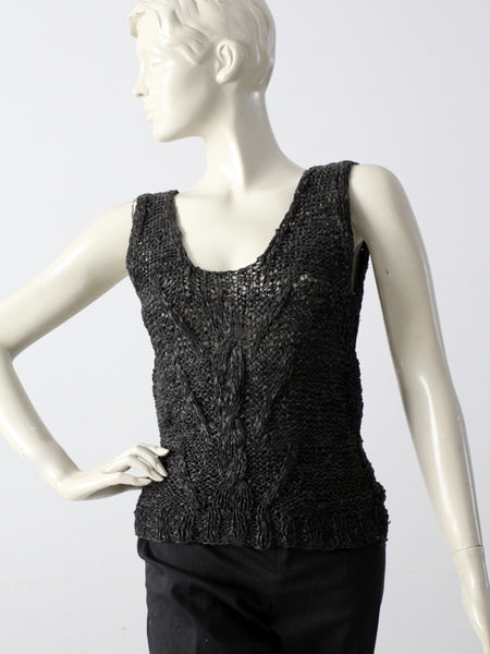 vintage 80s woven leather tank top
