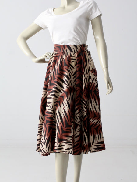 vintage 50s circle skirt with jungle print
