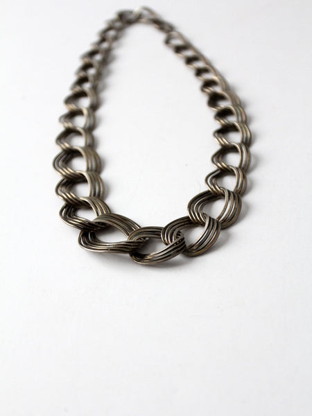 vintage silver ring link necklace
