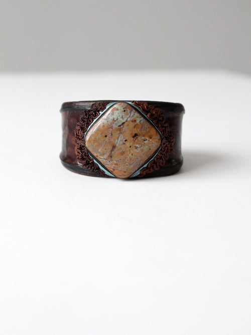 vintage leather cuff with stone