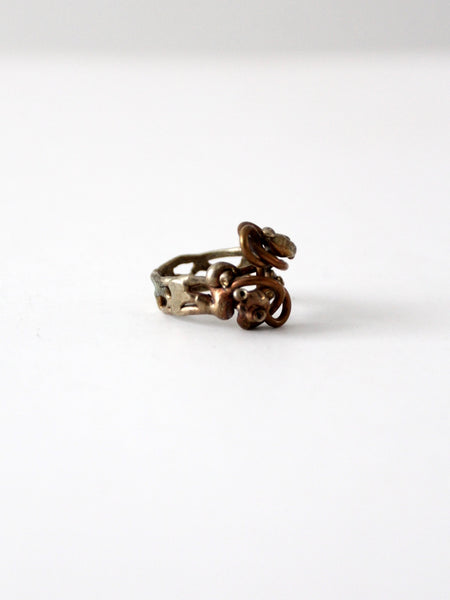 vintage mixed metal brutalist ring