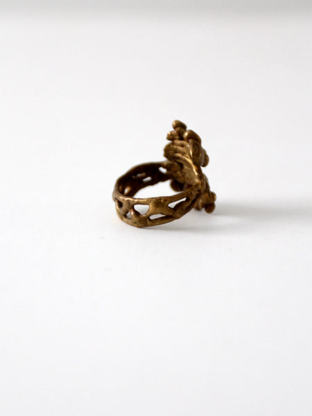 1970s bronze brutalist ring
