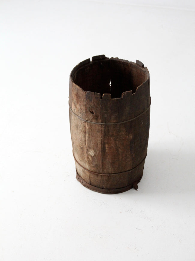 primitive wood barrel
