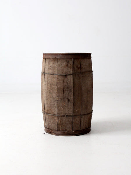 antique primitive wooden barrel