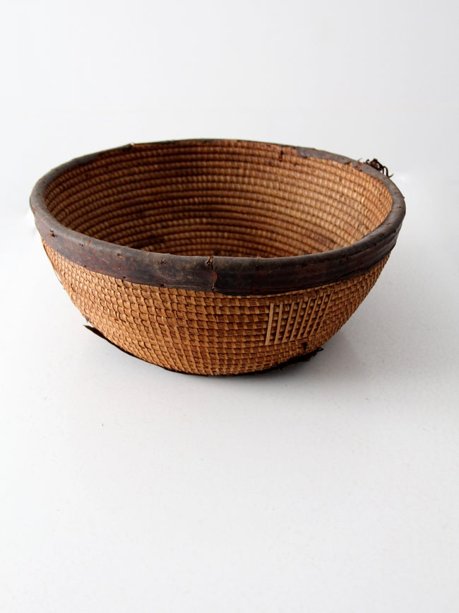 antique African Nupe tribal basket
