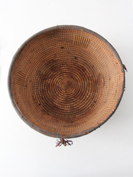 antique African woven bowl