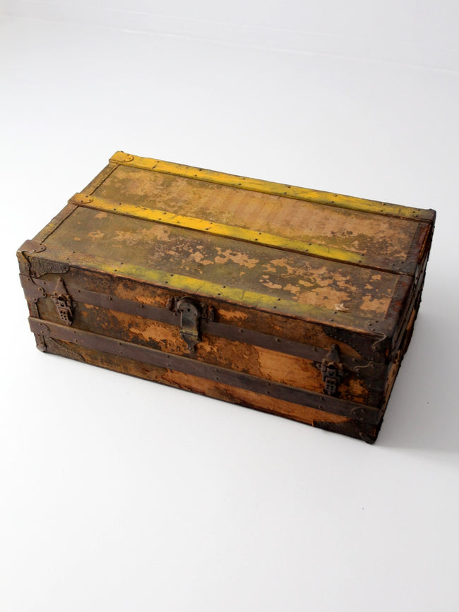 antique wood storage trunk