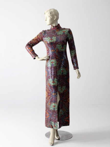 vintage 70s sequin maxi dress by Malcolm Starr