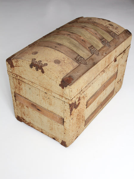 antique barrel top trunk