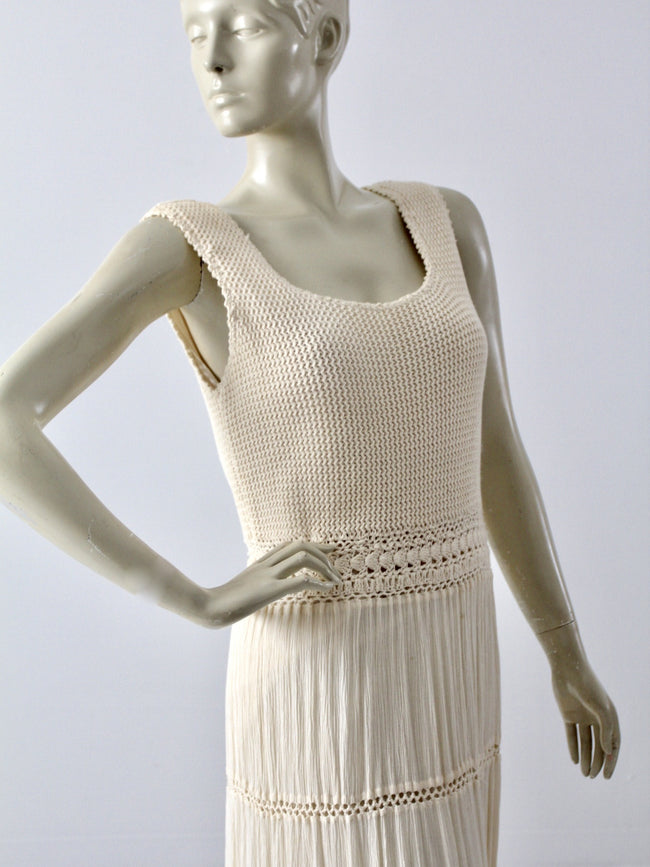 vintage 70s crotchet maxi dress
