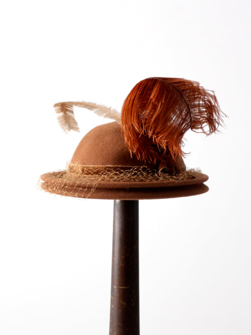 vintage 40s half veil hat with feathers