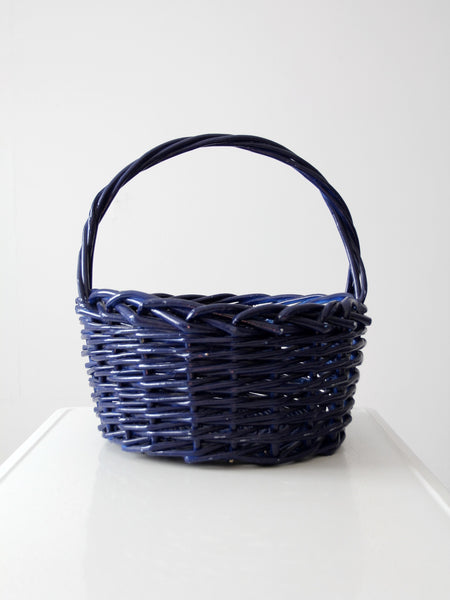 vintage large blue basket with handle