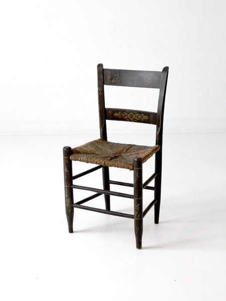 antique Hitchcock style painted rush seat chair