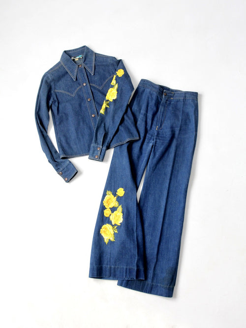 Antonio Guiseppe embroidered denim suit circa 1970