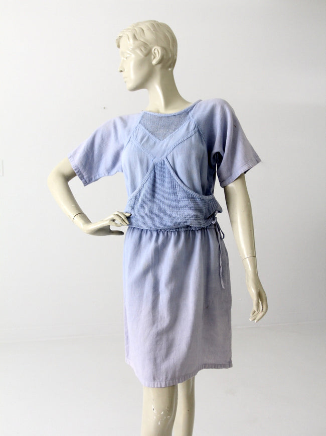 vintage 80s cotton mesh dress