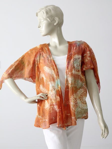 vintage 70s sheer cotton tie dye jacket