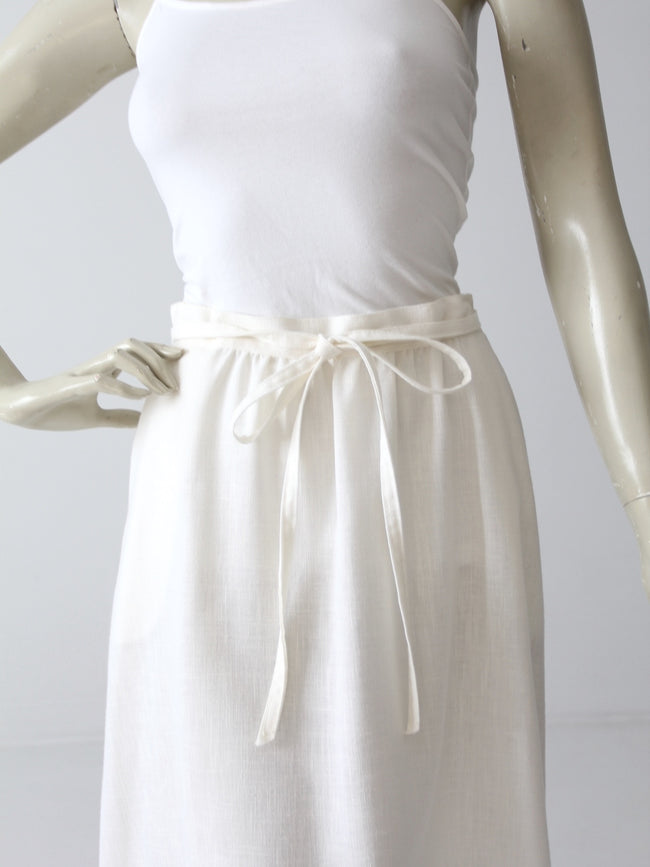 vintage 1970s white wrap skirt