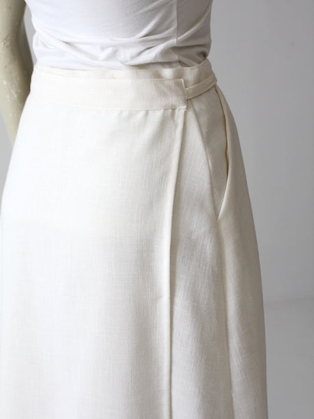 vintage 70s white wrap around skirt